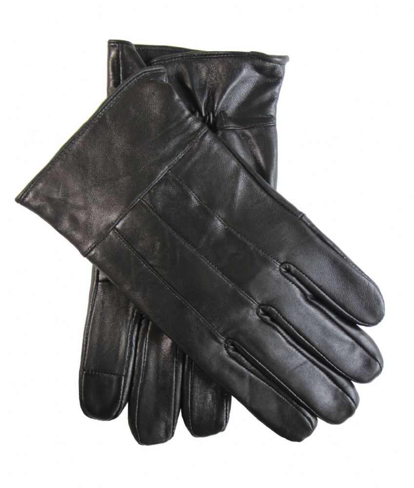 Mens genuine leather winter driving dress touch screen gloves